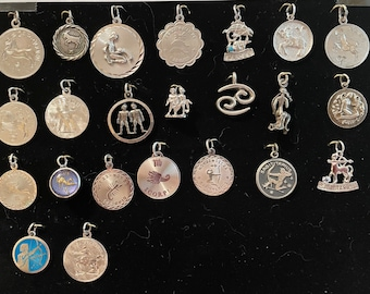 Zodiac Vintage Sterling Disk and 3D charms 1960-1970s New Photos Aug 18