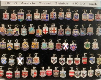 United Kingdom and Austria Travel Shields Enameled Silver 1950s Vintage Charms each Sold Separately @ 10 dollars each