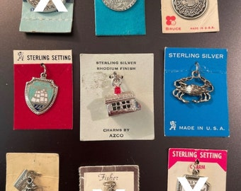 Vintage NOS New Old Stock on Original Cards Never Worn Sterling Silver Charms