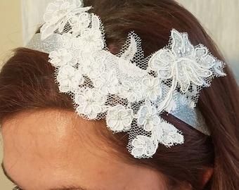 Lace and bead headband