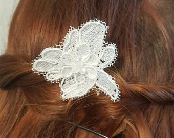 Ivory lace and bead pin