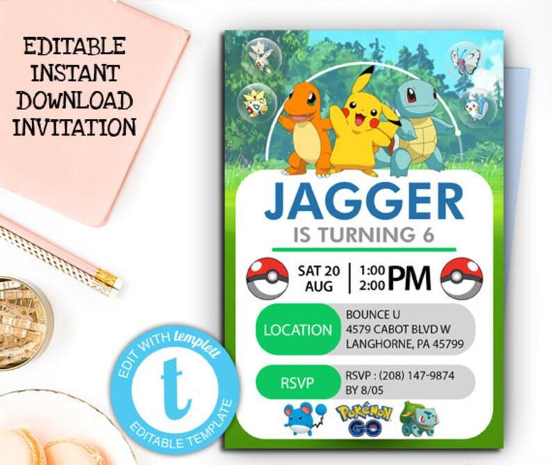 Pokemon Invitation Instant Download Editable Birthday Card Party Invites