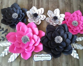 Hot pink,black and silver paper flower set