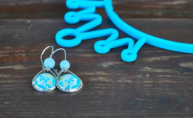Mountain earrings Rock Climbing earrings Adventure Aqua Blue earrings Gift for climber Teardrop Long earrings