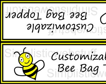 Bee Customizable Bag Topper 7x2 Inches