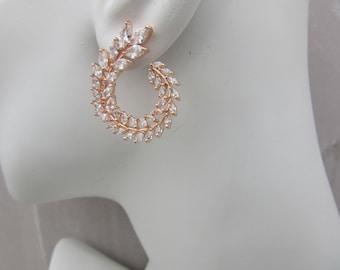 Stunning leaf Circle Wrap Earrings Gold , Rose Gold, Platinum Silver
