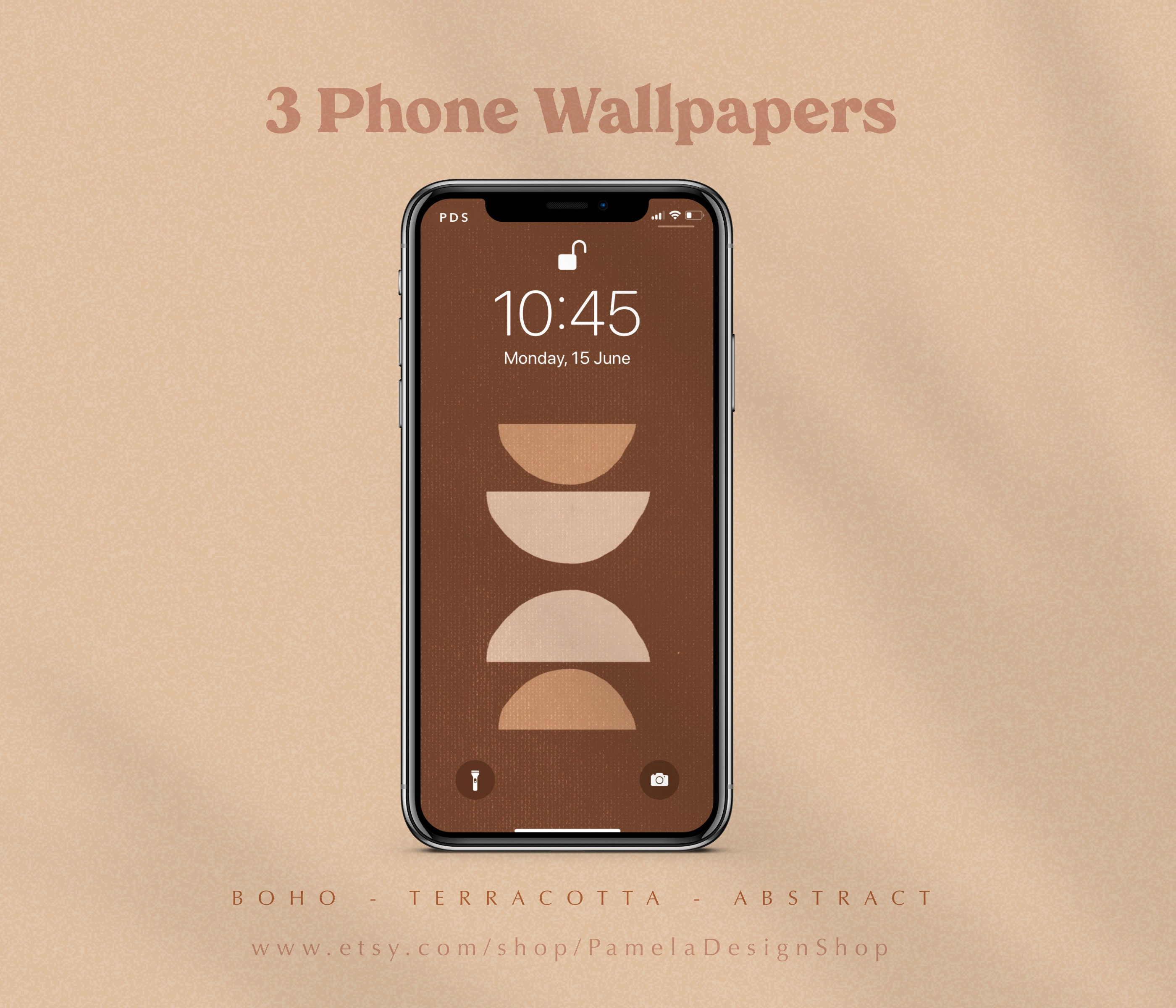 3 Iphone Wallpapers Design Abstract Shapes Terracotta Etsy
