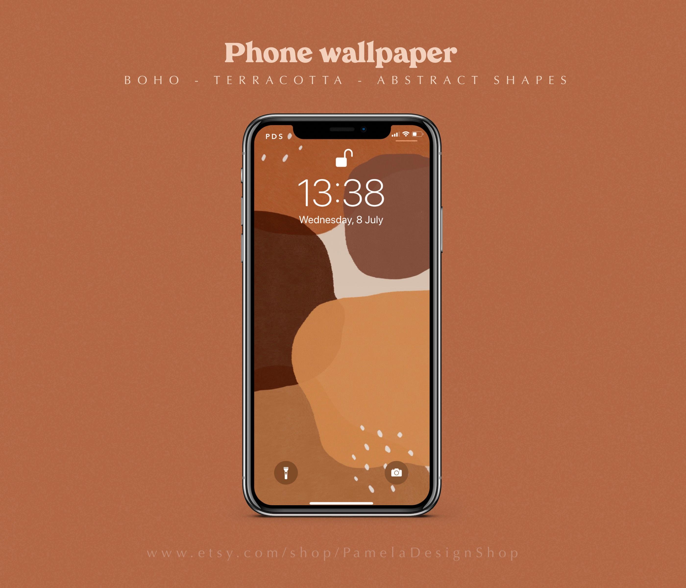 21 iPhone Wallpaper Design in 21 Terrakotta schöne Farben   Boho moderne  minimalistische Formen   Telefon Hintergrund Ästhetische Abstrakte Kunst