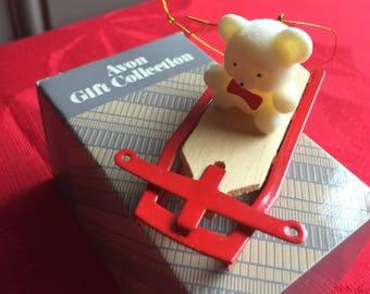 NIB Vintage Avon Teddy Bear Ornament Collection, Teddy on Sled