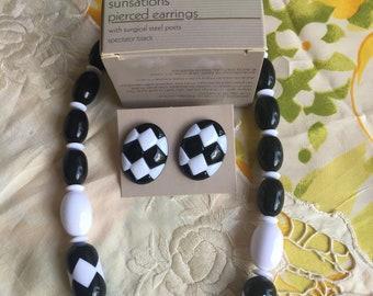 NIB Vintage Avon Sunsations Necklace and Pierced Earrings Set, 1987