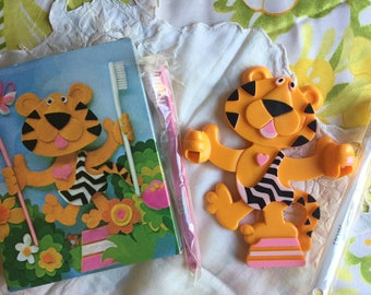SALE! NIB Vintage Avon Toofie Tiger Toothbrush Holder and two toothbrushes