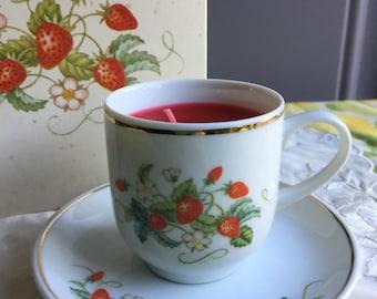 SALE!NIB Vintage Avon Strawberry Porcelain Demi-Cup Fragrance Candlette, 1978