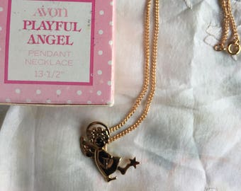 SALE! NIB Vintage Avon Playful Angel Pendant Necklace, 1978