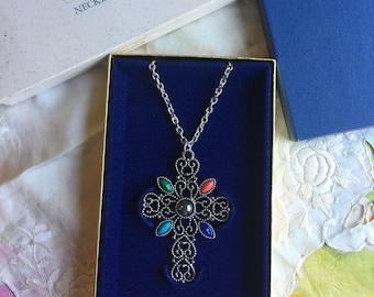 SALE! NIB Vintage Avon Romanesque Cross Necklace, 1972