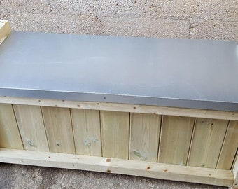 Superb Wooden Galvanized Steel Flat Roof Outdoor Storage Box Bench Creativecarmelina Interior Chair Design Creativecarmelinacom
