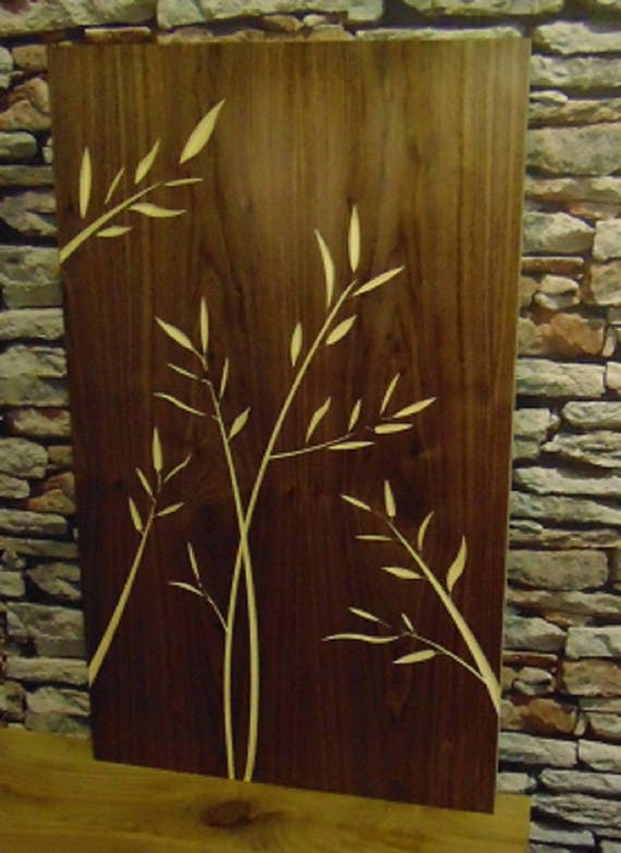 Wooden Veneer Birch Ply Backed Carved Wall Art Bamboo Leafs Design