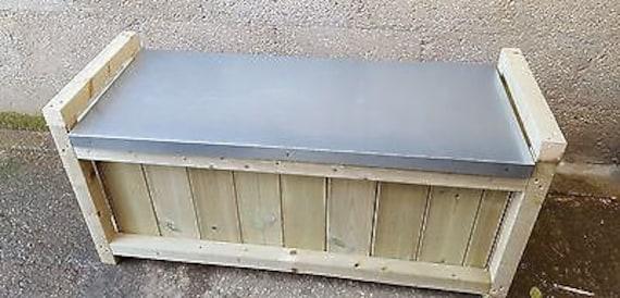 Superb Wooden Galvanized Steel Storage Bench Creativecarmelina Interior Chair Design Creativecarmelinacom