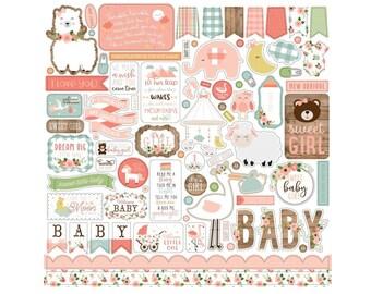 "Baby Girl Stickers, 12""X12"" Sticker, Scrapbook Paper, Baby Stickers, Baby Shower Stickers, Pregnancy Stickers, Girl Stickers, Baby Gift, #22"