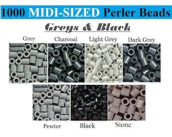 1000 Perler Beads, Perler Melting Beads, Bulk Perler Bead, Perler Bead Lot, Gray Grey Beads, Black Perler Beads, Melting Beads, Perler Brand