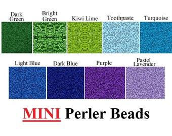 2000 MINI Perler Beads, Mini Fuse Beads, Bulk Perler Beads, Perler Bead Lot, Melting Beads, Green Beads, Blue Beads, Purple Beads, Perler