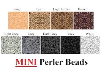 2000 MINI Perler Beads, Mini Fuse Beads, Bulk Perler Beads, Perler Bead Lot, Melting Beads, Brown Black Beads, Gray  White Beads, Perler