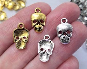 Set of 10, Skull Charms, Skeleton Pendants, Skeleton Jewelry, Skull Jewelry, Punk Gifts, Halloween Charms, Pendants, Bulk Charms Lot, #45C,F