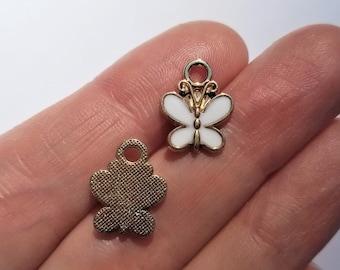 BULK of 10, Butterfly Charm, Enamel Charms, Small Butterflies, Butterfly Pendants, Butterfly Gift, Butterfly Lover, Golden Butterfly, #51D