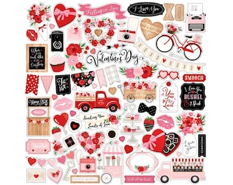 """Cupid & Co Stickers, 12""""X12"""" Stickers, Scrapbook Stickers, Be My Valentine Stickers, Love Stickers, Romantic Gifts, Anniversary Gifts, #4"""