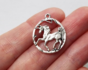 Set of 5, Silver Unicorns, Round Charms, Horse Pendants, Mythical Jewelry, Fantasy Gifts, Tibetan, Unicorn Lovers, Bulk Charms Lot, #50G