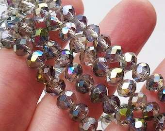 70bfc2d8c248 100 Drop Beads, 6x4.5mm, Electroplate Glass Beads, Rainbow Beads, Sparkling  Beads, Iridescent Bead, Faceted, AB Plated, Abacus, #B50