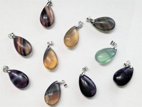 Teardrop Pendant 1 Natural Tiger Eye Gemstone Necklace Drop Stone Platinum Tone Alloy Findings Smooth Stone #212 Gemstone Pendant