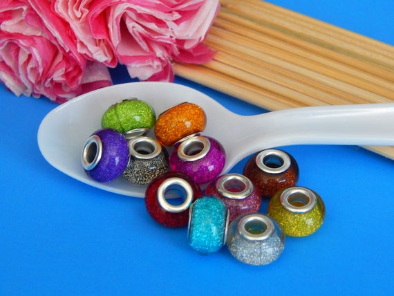 Acryl Spacer Perlen Beads D.9mm 100 European Silberf