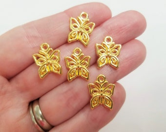 Set of 25, Gold Butterfly Charms, Butterfly Jewelry, Insect Charms, Tibetan, Charm Bracelet, Pendant Lot, Bulk Pendant Lot, Charms, #5H