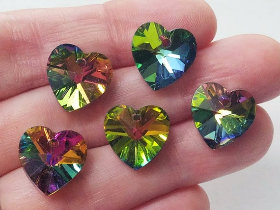 Electroplated Charms Colorful Hearts Faceted Jewelry Making Love Glass Hearts Glass Pendant #83C Shimmering Hearts Iridescent