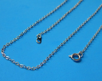 """25/50/100, Silver Chain Necklaces, Brass Cable Rolo Chains, 16"""" long Necklace, Loose Chains, Silver Necklaces, Clasp Chain, Silver Chain"""