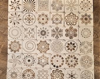 Set of 36, Mandala Stencils, Plastic Templates, Painting Stencils, Drawing Stencils, Symmetrical Stencil, Reusable Templates, 3.54 inch,#28D