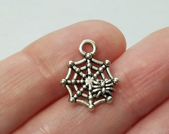 Set of 10, Silver Spider Webs, Spider Charms, Spider Pendants, Silver Charms, Halloween Jewelry, Spider Webs, Bulk Pendant, Charm Lot, #24B