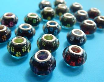 Set of 10, Paw Print Beads, European Beads, Dog Paw Beads, Brass Cores, Puppy Foot Paw Prints, Pendant Lot, Bulk Pendant Lot, Charms, #186B