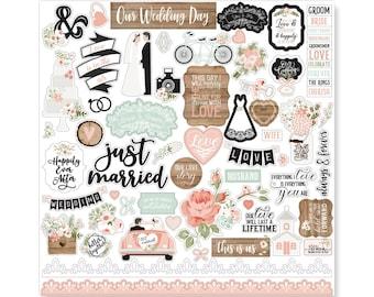 "Wedding Stickers, 12""X12"" Sticker, Scrapbook Paper Stickers, Anniversary Sticker, Bride Stickers, Scrapbooking Sticker, Husband and Wife,#18"