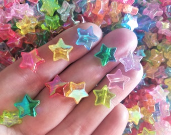 100 Beads, Acrylic Colorful AB Star Pony Beads, Transparent Stars, Iridescent Beads, 10mm Bead, Earring Bead, Celestial Jewelry Making, #15A