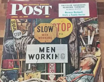 The Saturday Evening Post April 12, 1947. Epic Antique Advertising Perfect For Modge Podge Projects. Useful For Artwork Projects and More.