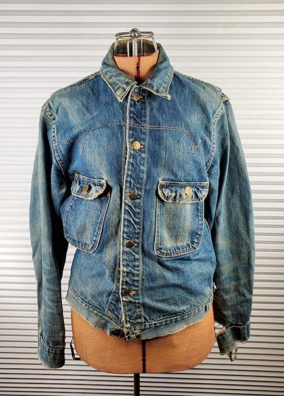 RARE 1940's Madewell Sanforized Denim Jacket. Slee