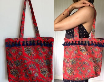 Boho Lined Tote Bag - Indian Scarf Print - Tassel Bag - Shopper Bag- Shopping bag - Printed Bag - Statement Accessories - 60s -Gifts for Her