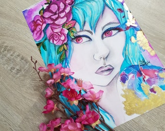 Embellished Artprint [Frosting Gold] Watercolorpainting