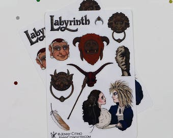 MINI SET Labyrinth Inspired Sticker Sheet. Illustration, Fantasy, Planner, Journal, David Bowie Masquerade, Jim Henson 80's Rock, Sketchbook