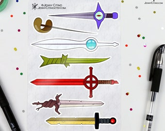 Adventure Time Finn Swords Inspired Sticker Sheet Illustration Planner Journal Cartoon Jake Demon Blood Weapon Golden Sword Knife