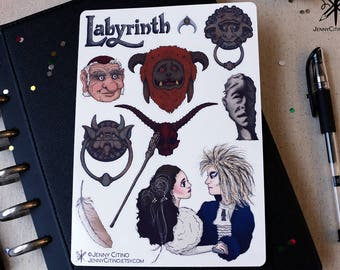 Labyrinth Inspired Sticker Sheet. Illustration, Fantasy, Planner, Journal, David Bowie, Masquerade, Jim Henson, 80's Rock
