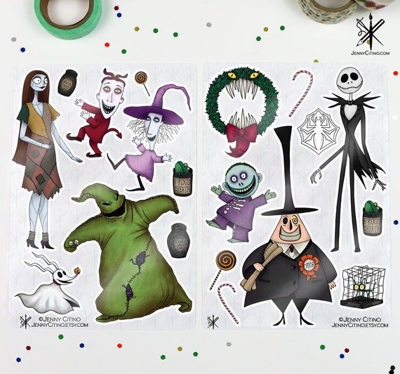 Nightmare Before Christmas Illustration.Bundle The Nightmare Before Christmas Inspired Sticker Sheet Illustration Planner Journal Jack Skellington Oogie Sally Halloween Zero