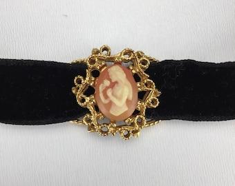 Vintage Black Velvet Choker with Cameo Slide Pendant, Girl Smelling Rose, Vintage 1990s Costume Jewelry Necklace