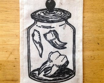 Lost Teeth | relief carving | print on muslin | patch